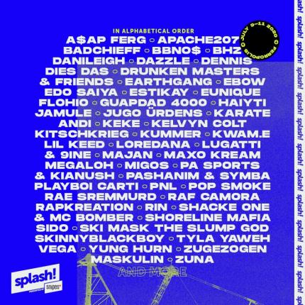 Line up splash! Festivalu 2020